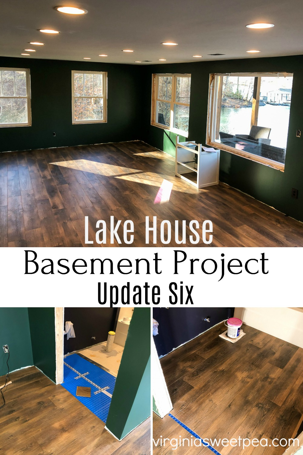Lake House Basement Project - Update Six - An unfinished basement is being transformed into a family room, bathroom, and bedroom.  In this update, the flooring is completed, canned lights are installed and an Ikea sink is assembled.  #basementproject #finishingabasement #smithmountainlake #virginiasweetpea via @spaula