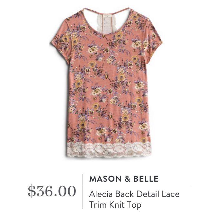 Mason & Belle Alecia Back Detail Lace Trim Knit top