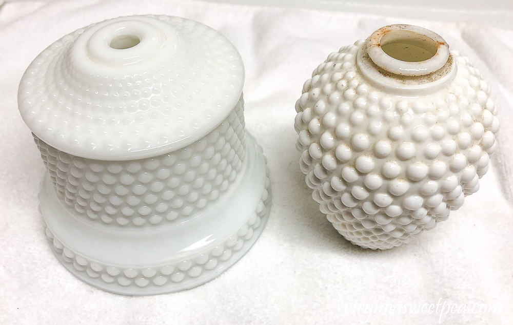 Milk Glass Lamp Makeover - One part of the lamp cleaned and the other not cleaned