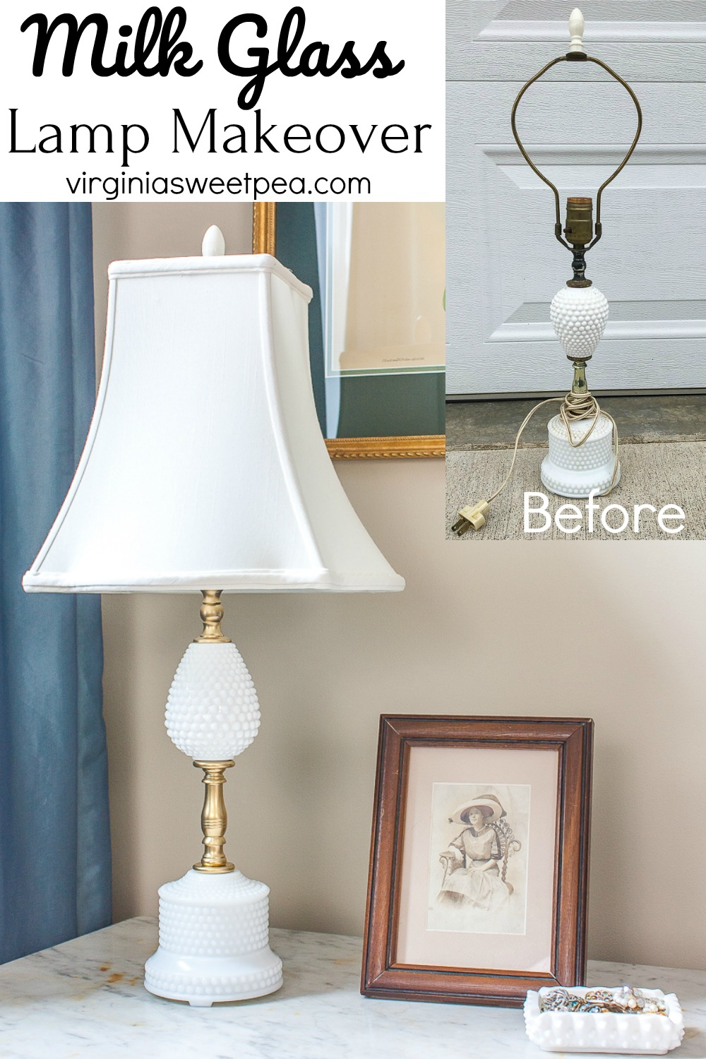 Milk Glass Lamp Makeover - A vintage Milk Glass lamp gets a new life with spray paint, rewiring, and a new shade. #milkglass #milkglasslamp #lampmakeover #thriftystyleteam #virginiasweetpea