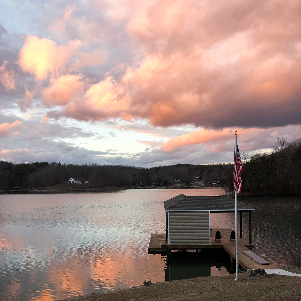 Sunset at Smith Mountain Lake on February 1, 2020