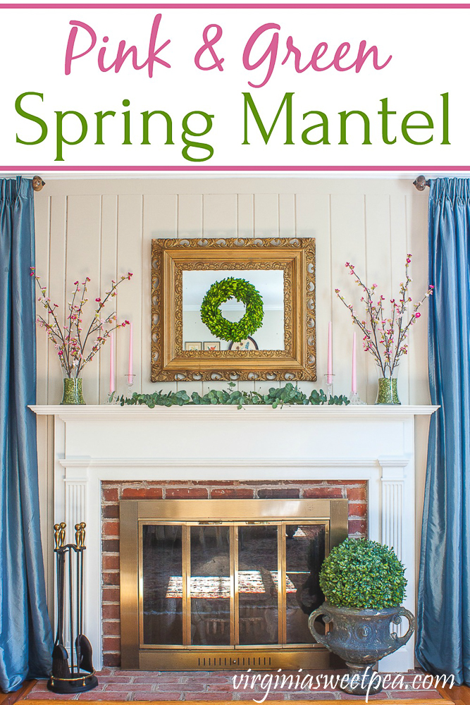 Pink and Green Spring Mantel - A mantel is decorated for spring with pink and green.  #springmantel #springdecor #springdecorating #virginiasweetea via @spaula