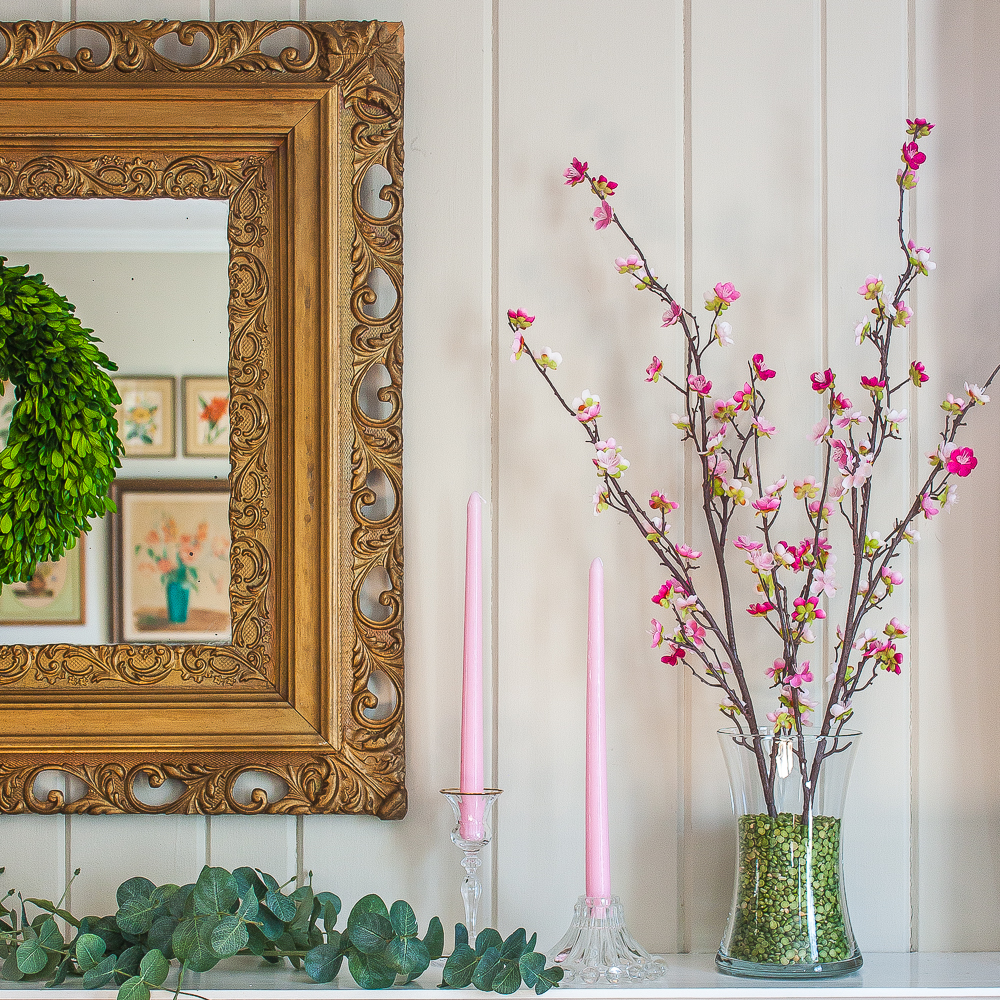 Pink and Green Spring Mantel