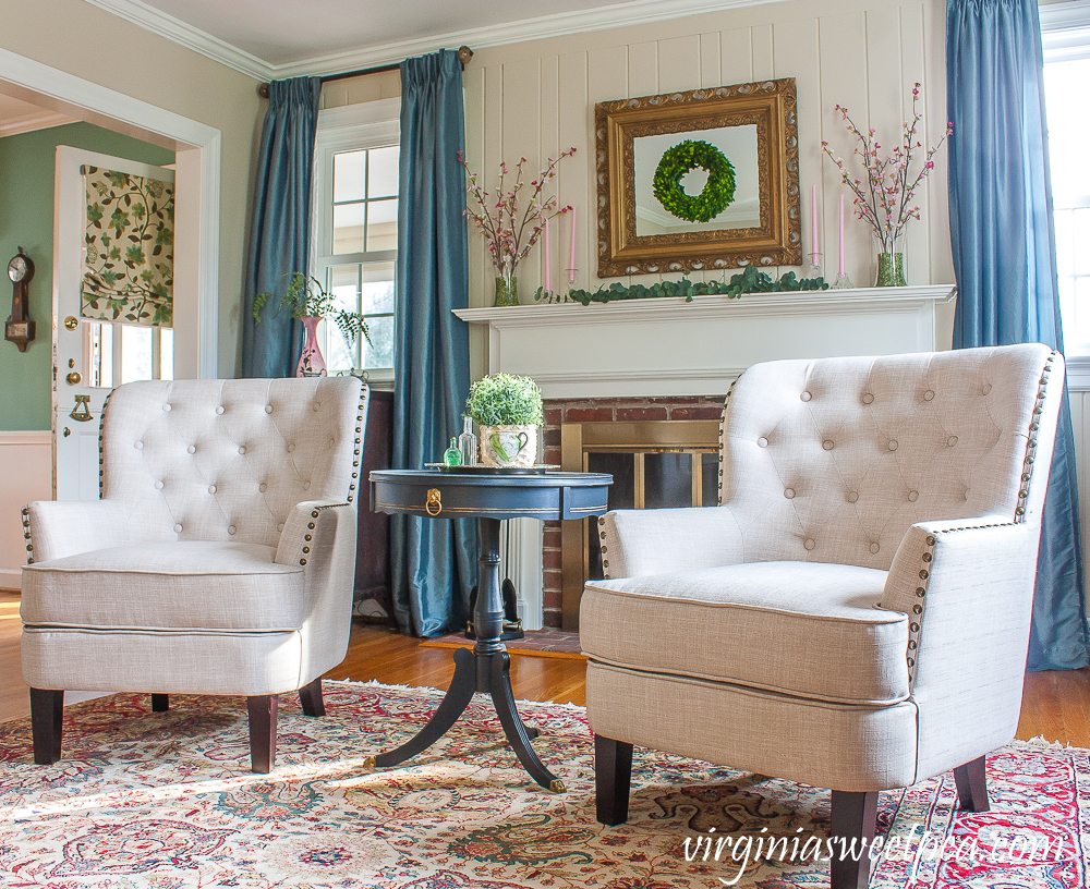 Wayfair Ivo Wingback Chair in Beige Linen in a living room