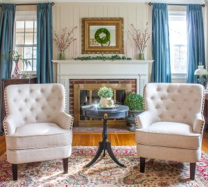 Wayfair Ivo Wingback Chairs in Beige Linen in a living room decorated for spring