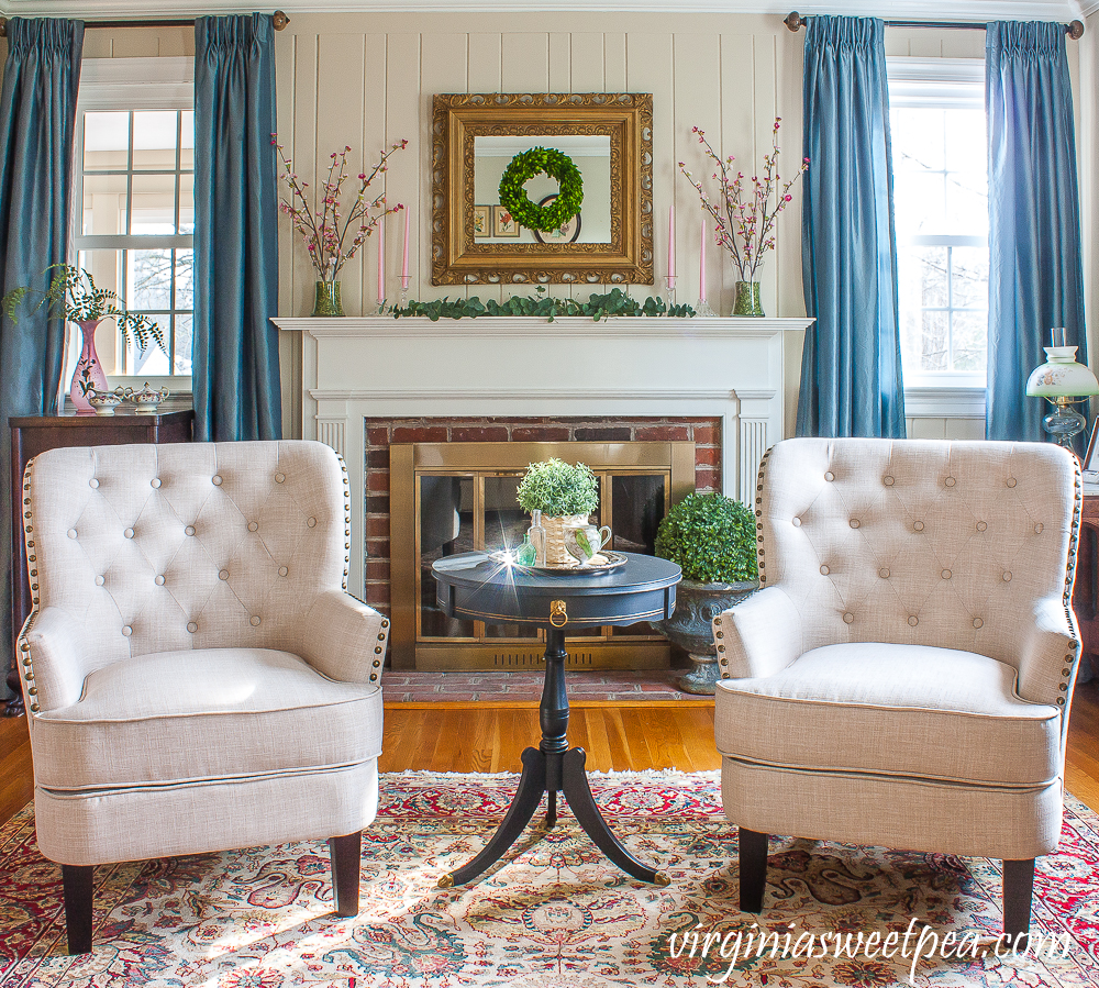 Living room decorated for spring