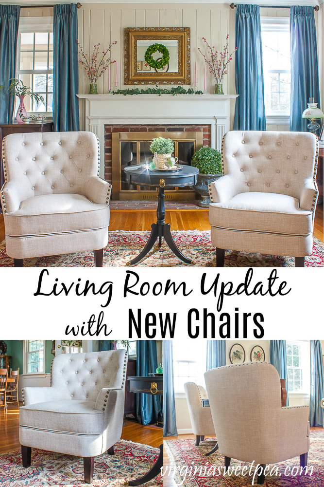 Living Room Update with New Chairs - Outdated chairs were replaced with new ones giving a living room an updated look. via @spaula