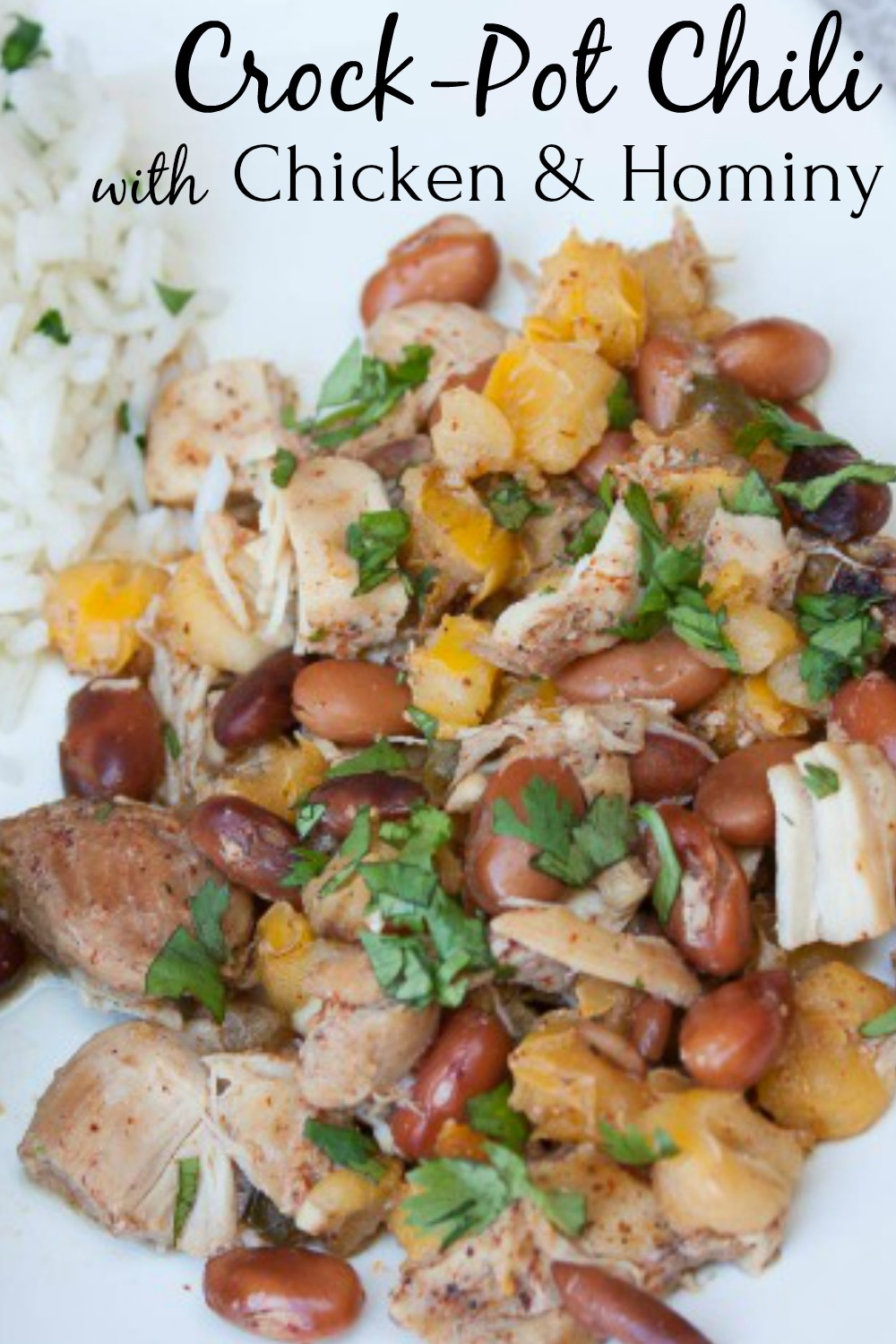 Crock-Pot Chili with Chicken & Hominy - This healthy and delicious dish is easy to make using a slow cooker or crock-pot. via @spaula