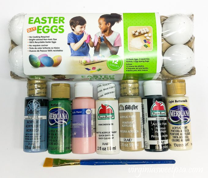 Supplies to make painted speckled eggs