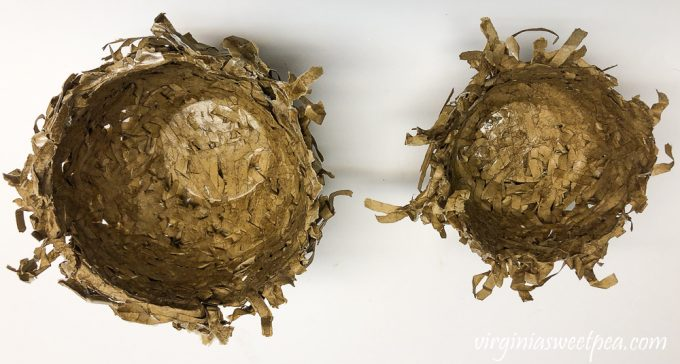 Nest made from a shredded paper bag