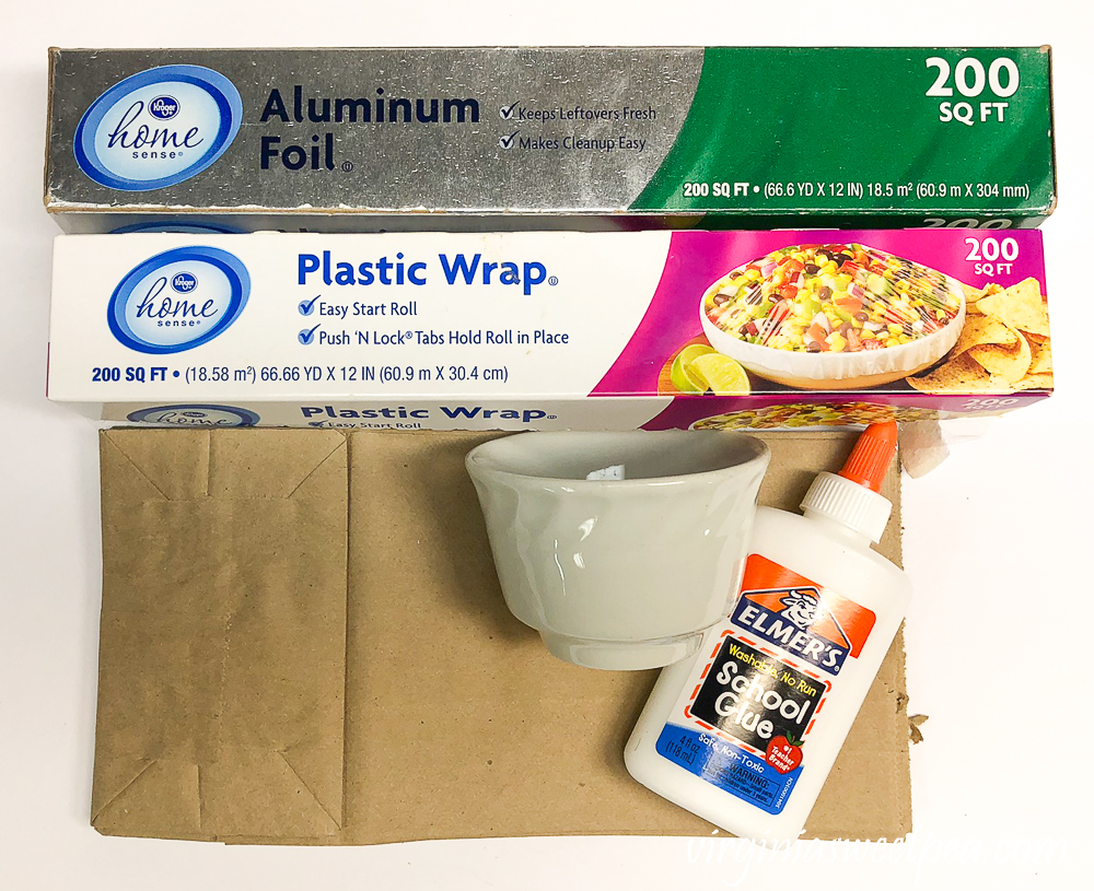 Supplies to make nests using paper bags