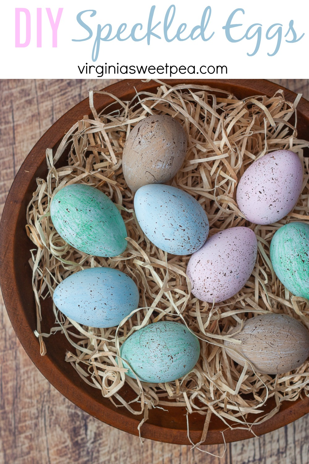 DIY Speckled Eggs - Learn how to make speckled eggs to use for spring and Easter decor.  Customize the egg color to match your style decor.   via @spaula