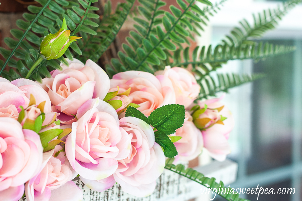 Faux roses and faux ferns from Dollar General