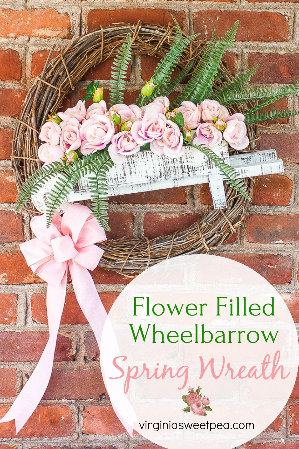 Flower Filled Wheelbarrow Spring Wreath - Learn how to make a spring wreath using a small wheelbarrow. Fill it with flowers to match the decor of your home. #springwreath #wreath #wreathidea #springcraft