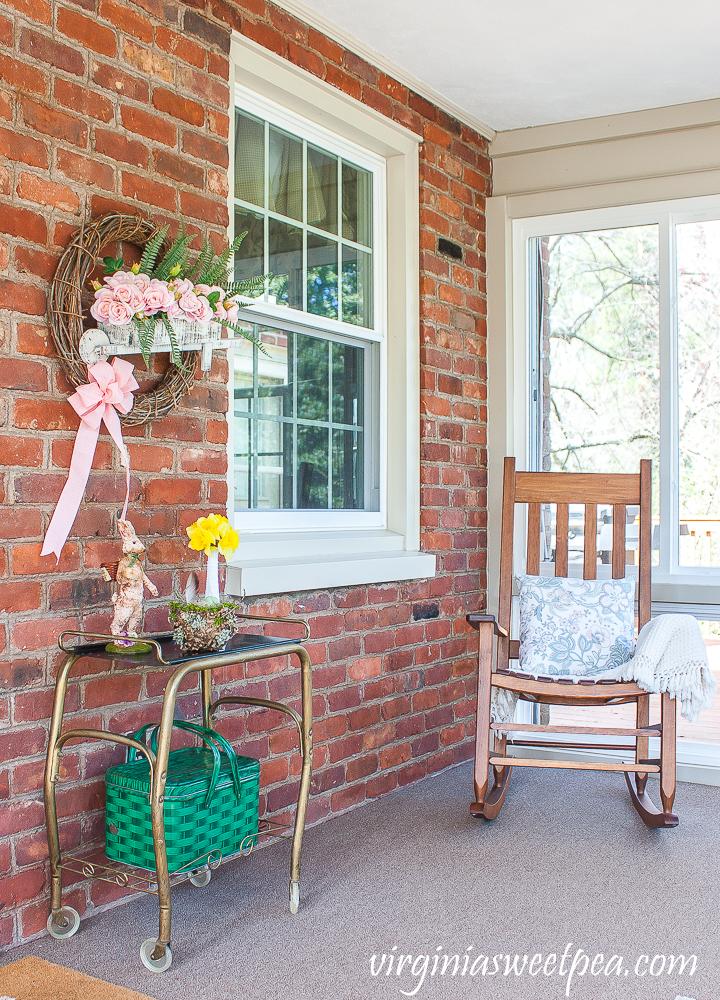 Spring decor on an enclosed porch