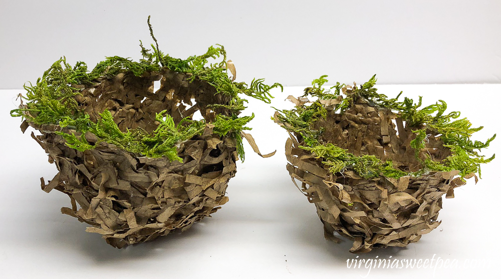 nest made with a shredded paper bag