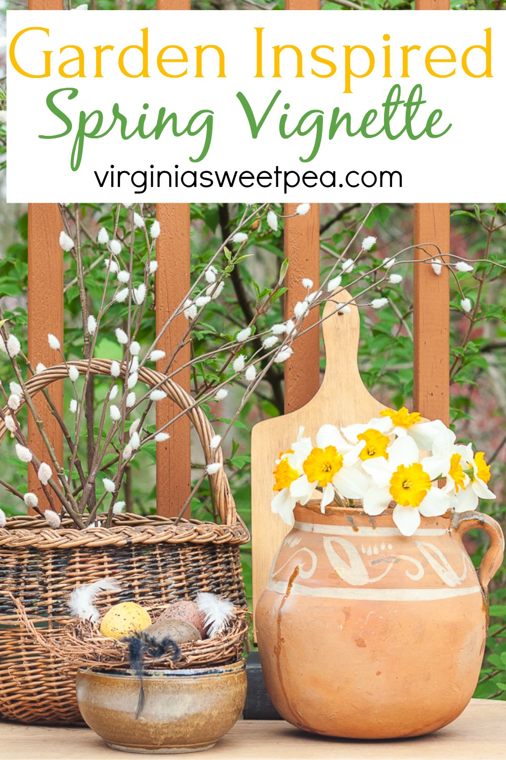 Garden Inspired Spring Vignette - This pretty vignette was created using a picture found on Instagram as inspiration.  Get tips on using an inspiration picture to create vignettes to enjoy in your home.  #springvignette #springdecor #gardenthemedspringdecor #gardeninspired #gardeninspireddecor  via @spaula