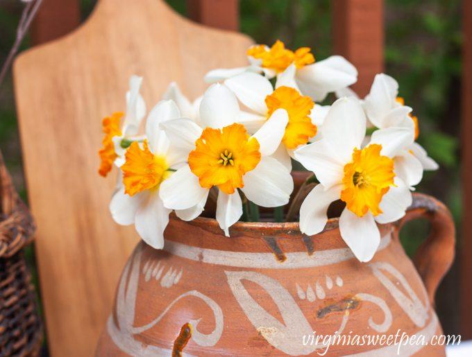Spring Daffodils in handmade pottery jug