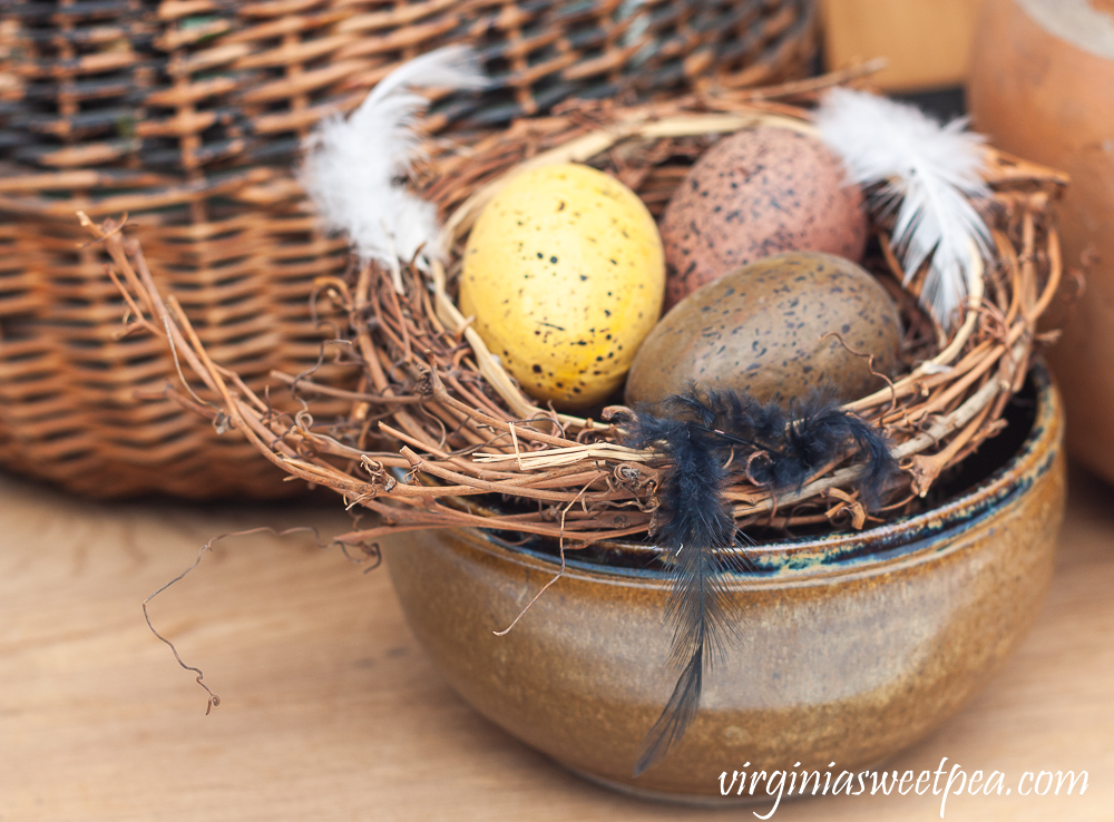 Nest with eggs in a pottery bowl