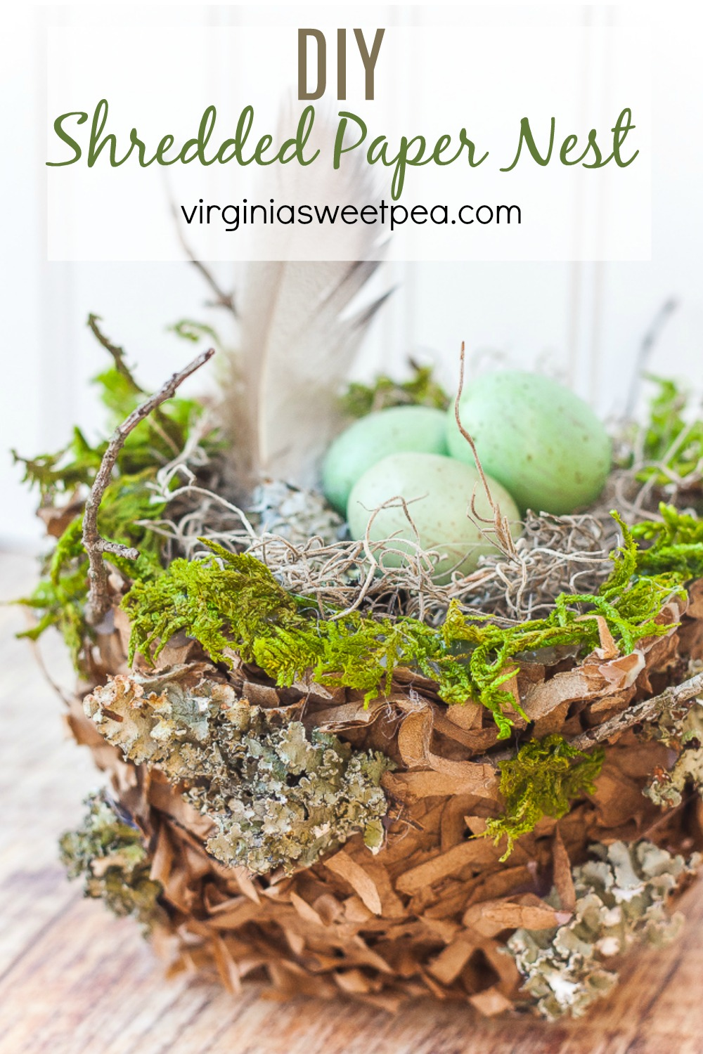 DIY Shredded Paper Nest - Make a realistic spring nest to use for decorating with shredded paper bags. Follow the step-by-step tutorial to make a nest to use in your home. #diynest #howtomakeanest #springnest #shreddedpapernest via @spaula