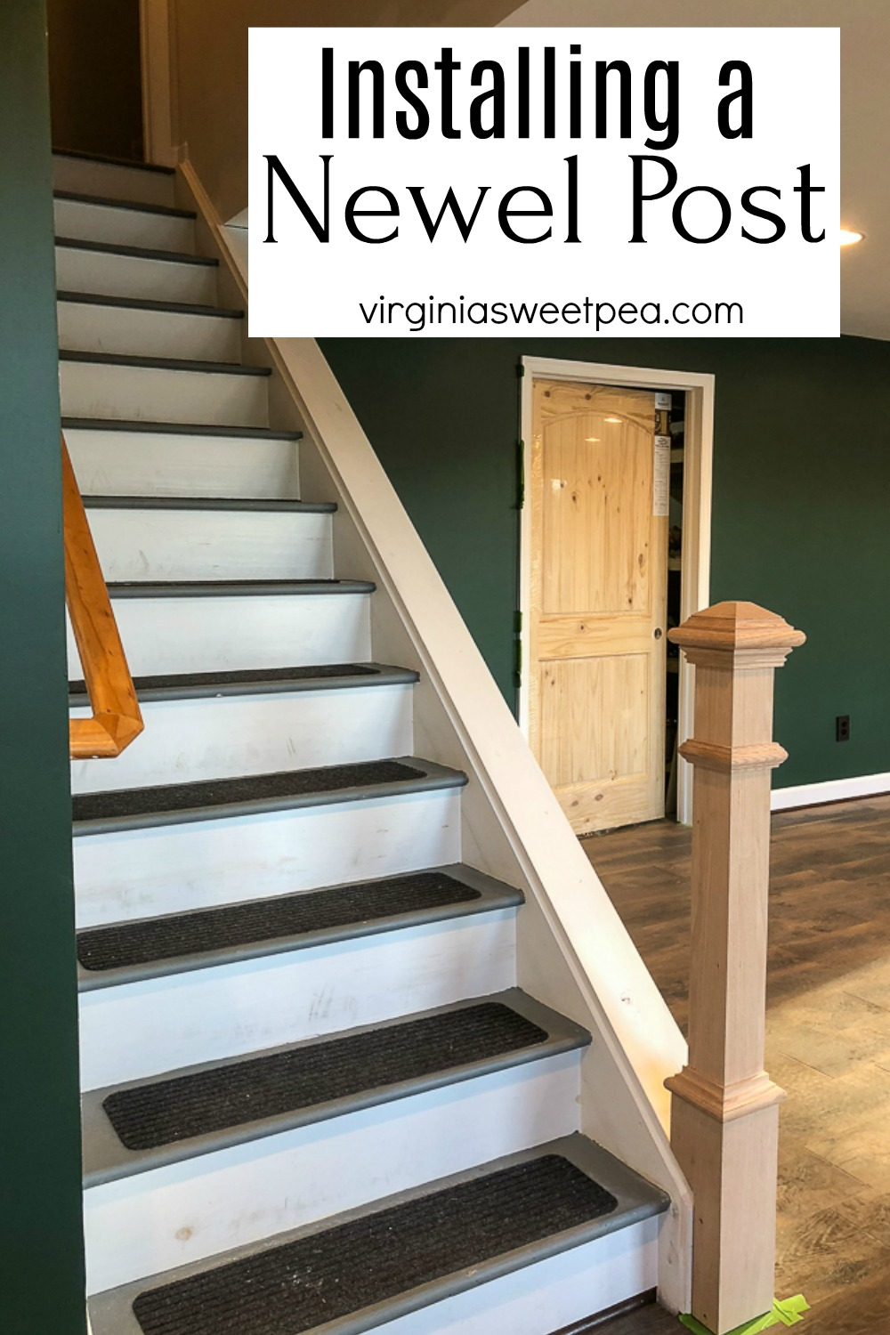 Installing a Newel Post - A newel post is added to the base of a set of basement stairs
