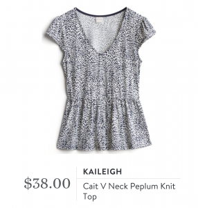Kaileigh Cait V Neck Peplum Knit Top