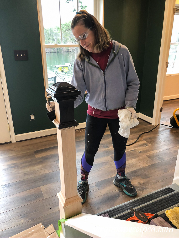 Staining a newel post with Zar stain in Charcoal