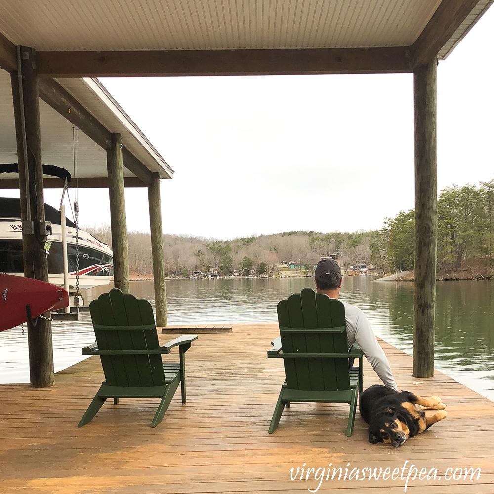 Sherman Skulina relaxing at Smith Mountain Lake on the dock
