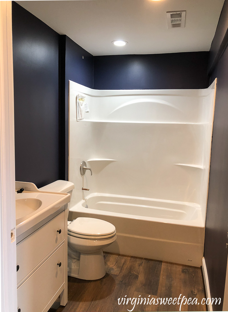 Bathroom Painted SW Charcoal Blue