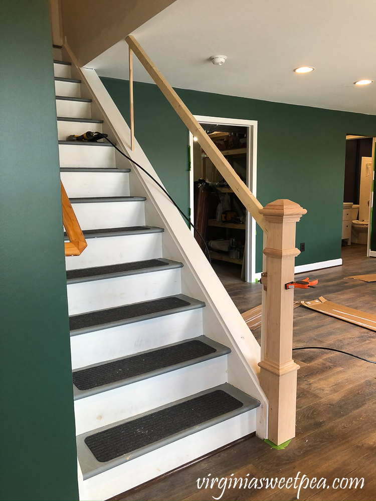 Installing a banister on a set of stairs