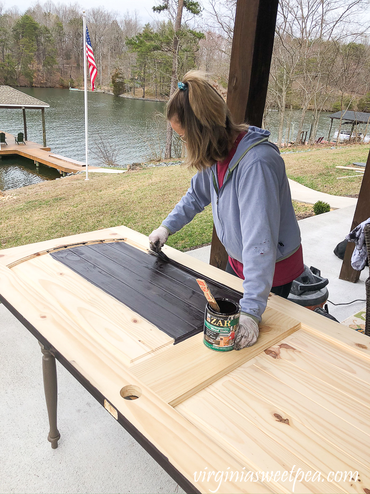 Staining doors with Zar stain in Charcoal