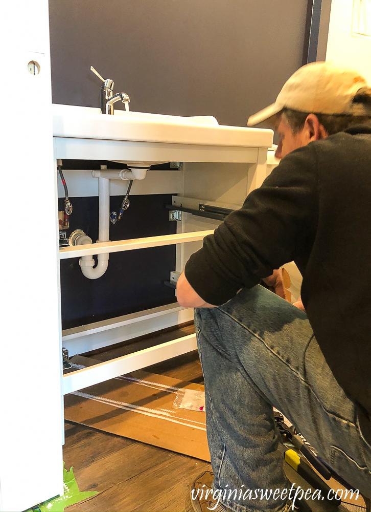 Plumbing work for an Ikea Hemnes Raettviken vanity and sink
