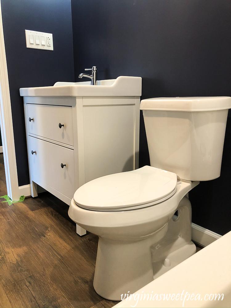 Vanity and toilet in a bathroom