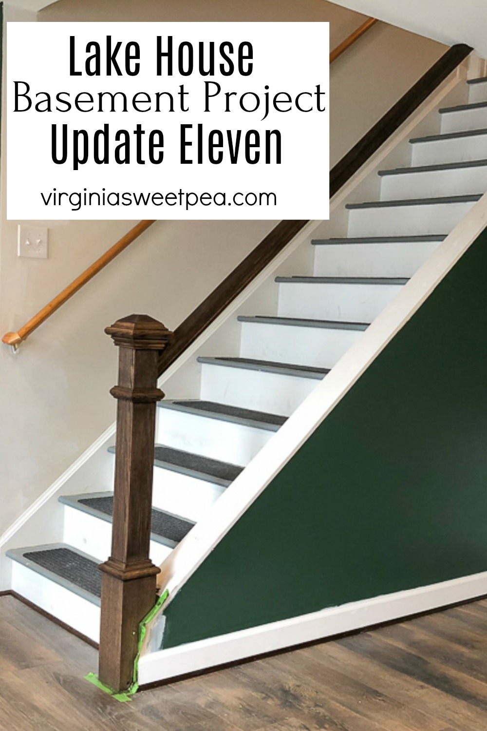 Lake House Basement Project - Update Eleven - This update includes adding a banister to the stairs, staining wood doors, and continuing to frame windows. #smithmountainlake #basementproject #finishingabasement #banister #howtoinstallabanister via @spaula