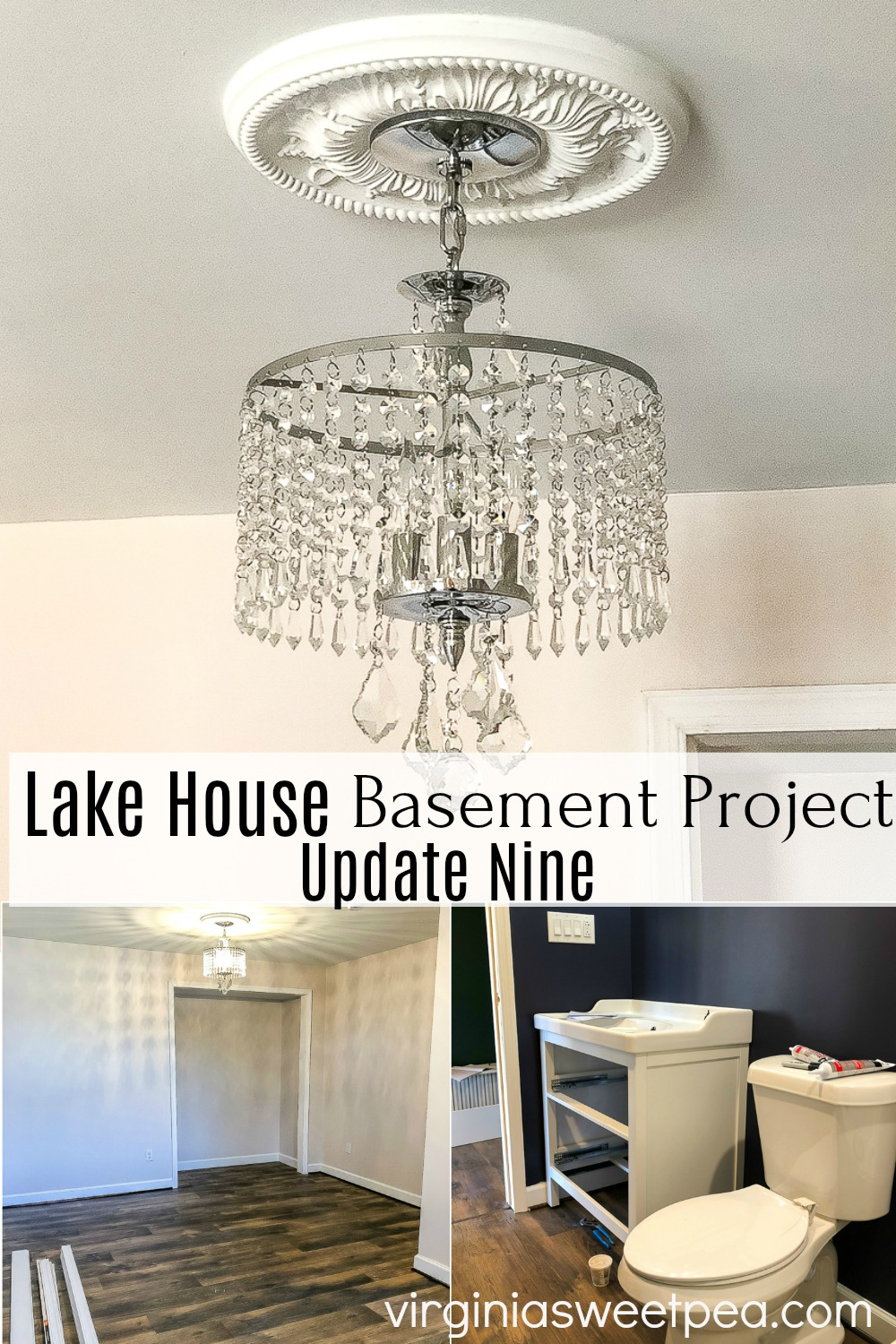 Lake House Basement Project Update Nine - An unfinished basement is being transformed into a bedroom, family room, and bathroom.  #finishingabasement #basement #basementupdate #smithmountainlake #virginiasweetpea via @spaula