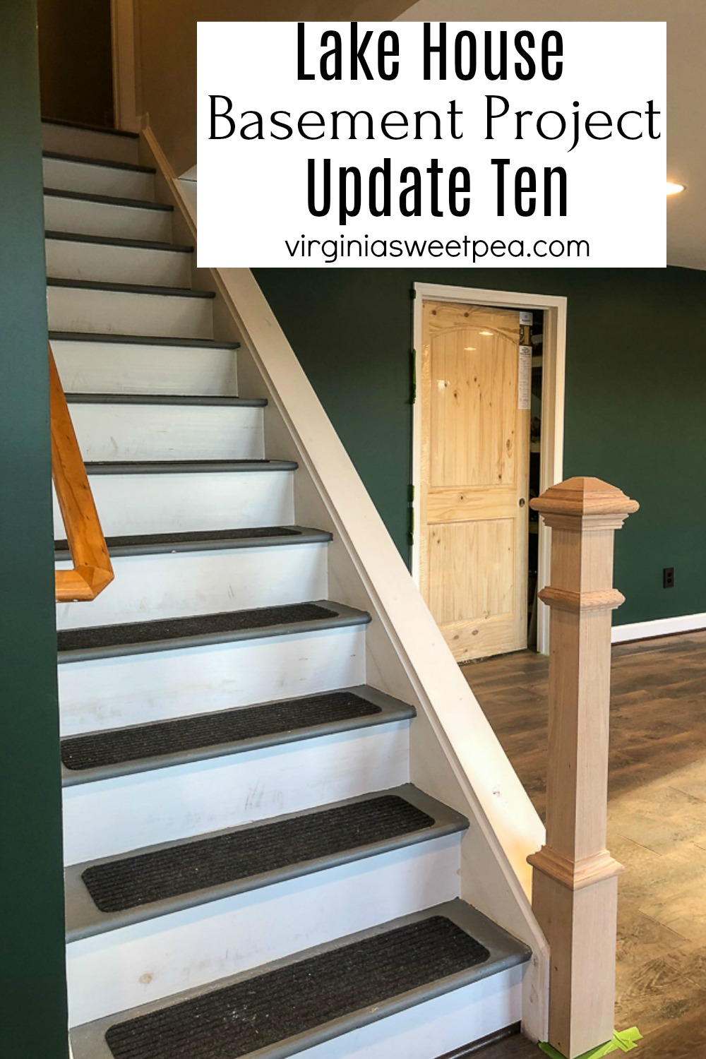 Lake House Basement Project - Update Ten - A newel post is installed, windows are framed, and plumbing work is done in the bathroom. via @spaula