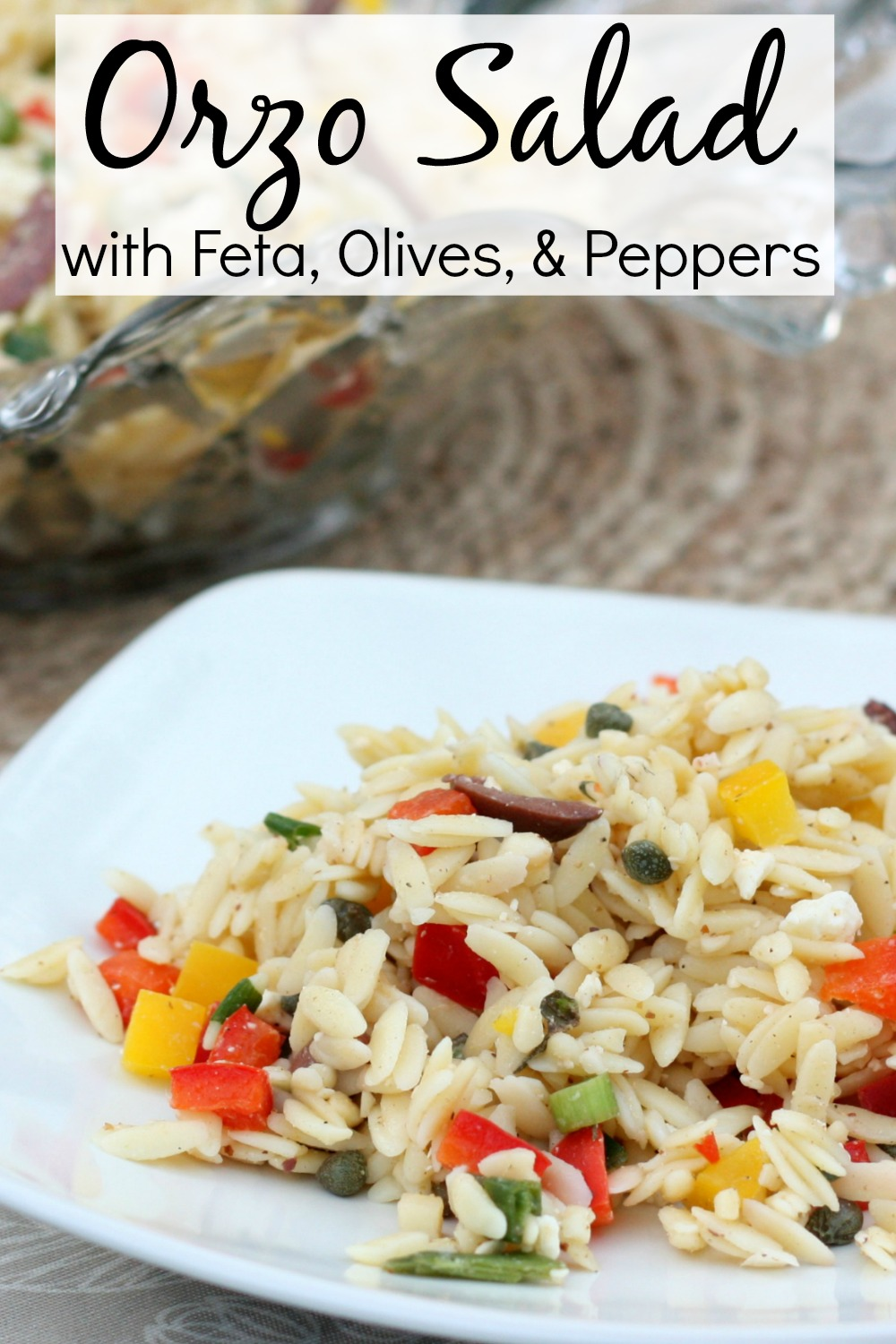 Orzo Salad with Feta, Olives, and Peppers - This delicious salad is tasty and a real crowd pleaser.  #vegetariansalad #saladrecipe #orzosalad via @spaula