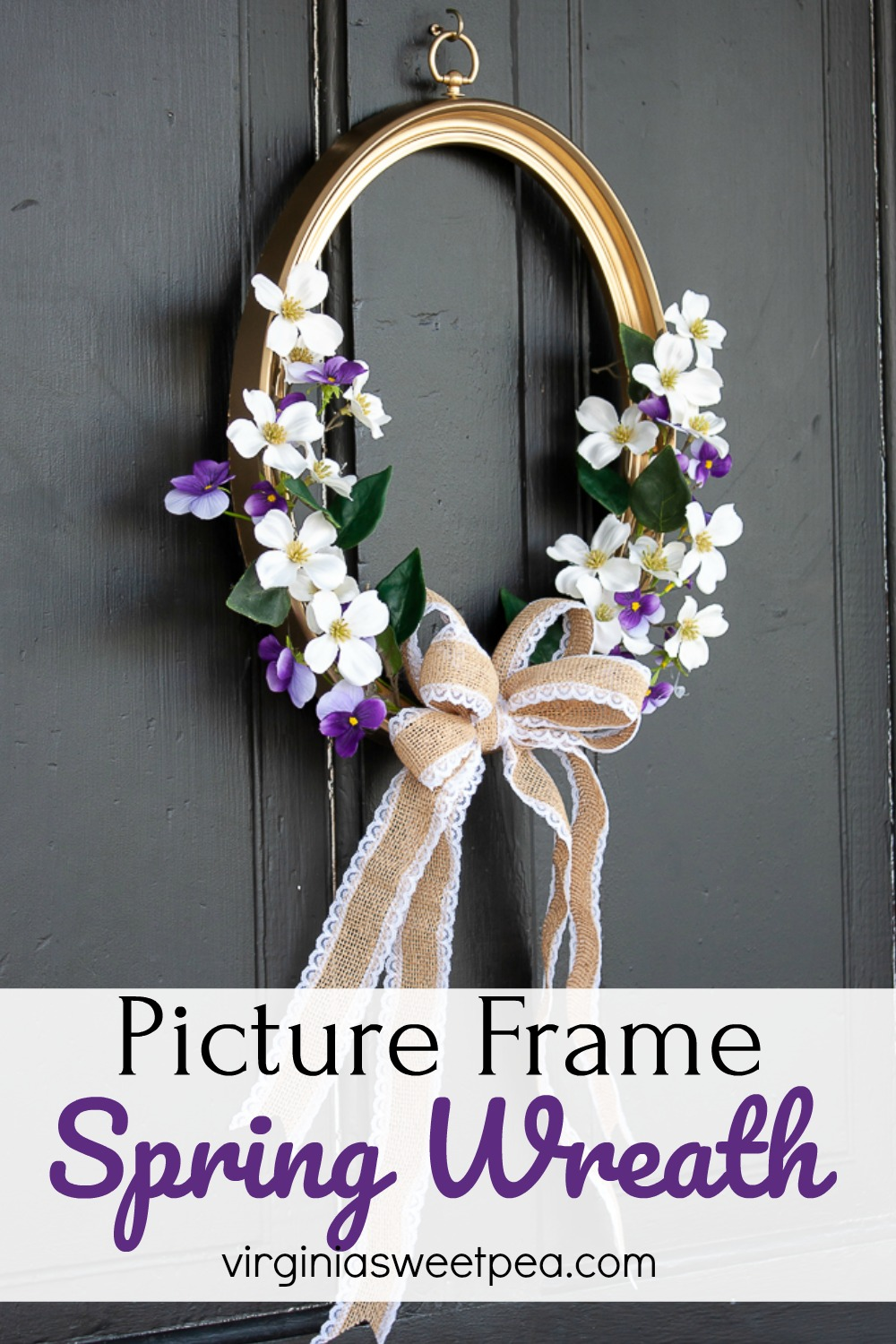 Picture Frame Spring Wreath - Use a picture frame to make a wreath for your home for spring. #springwreath #upcycledproject #wreath #pictureframewreath via @spaula
