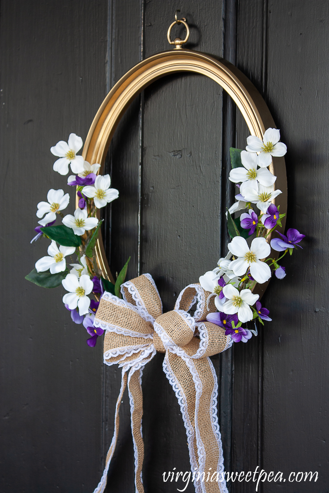 Picture frame spring wreath with florals and a burlap and lace bow