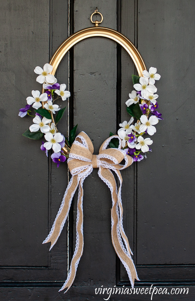 Spring Wreath made using an oval picture frame