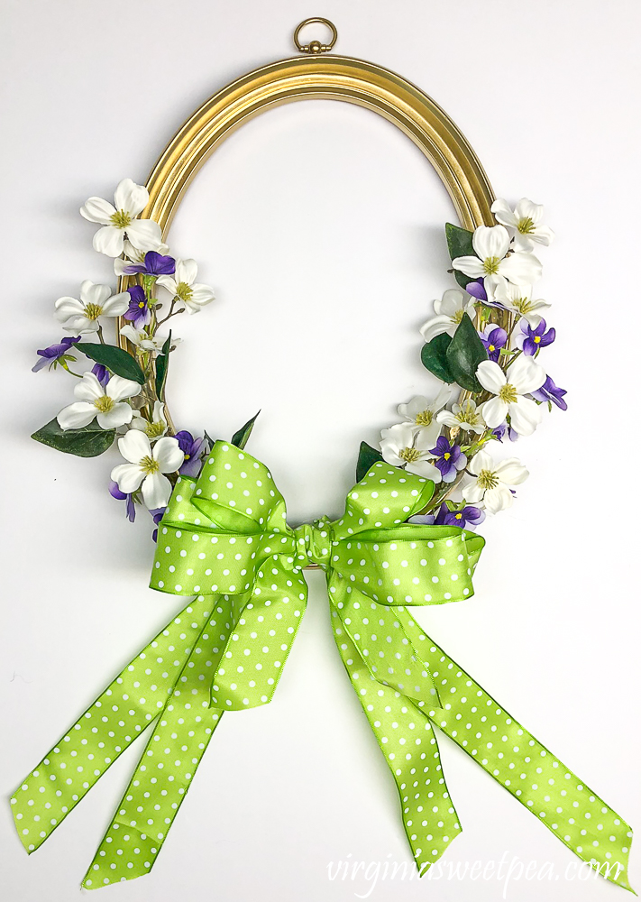 Spring wreath made using a picture frame