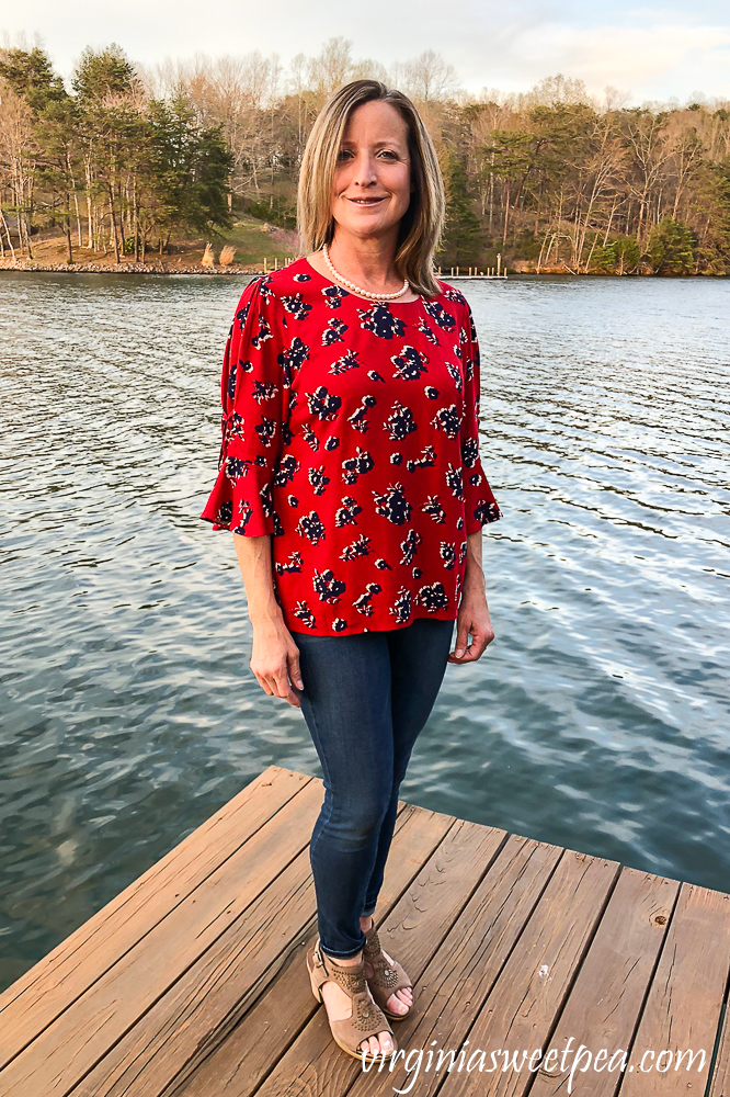 Stitch Fix Review for April 2020 - Skies are Blue Fairly tie Detail Top