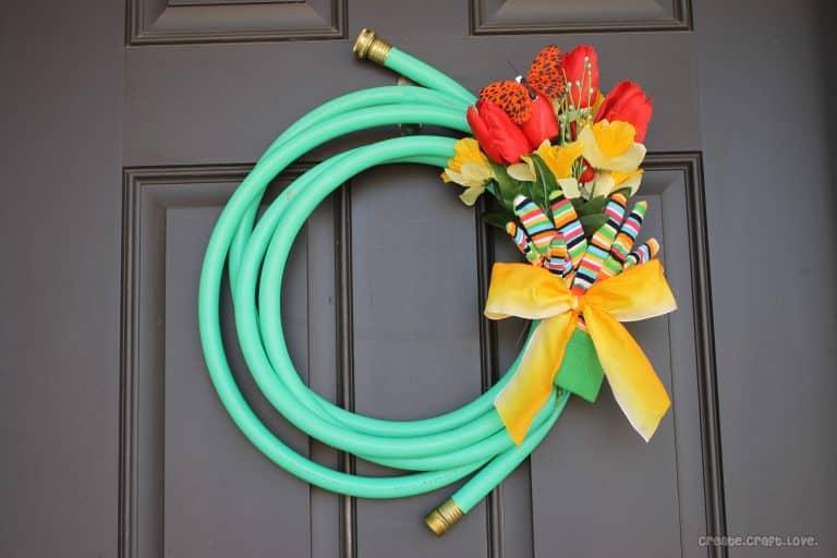Garden Hose Wreath for Spring