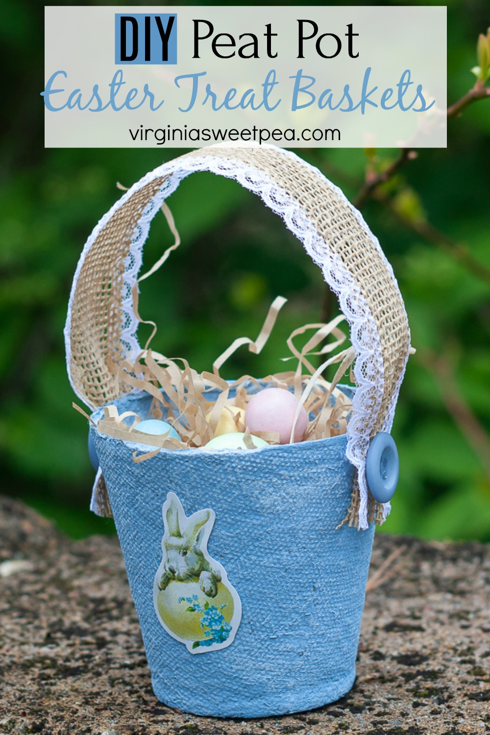DIY Peat Pot Easter Treat Basket - Learn how to make these adorable Easter treat baskets using peat pots, ribbon, and buttons. #easterbaskets #eastercraft #easteractivity #peatpotcraft #peatpotbasket via @spaula