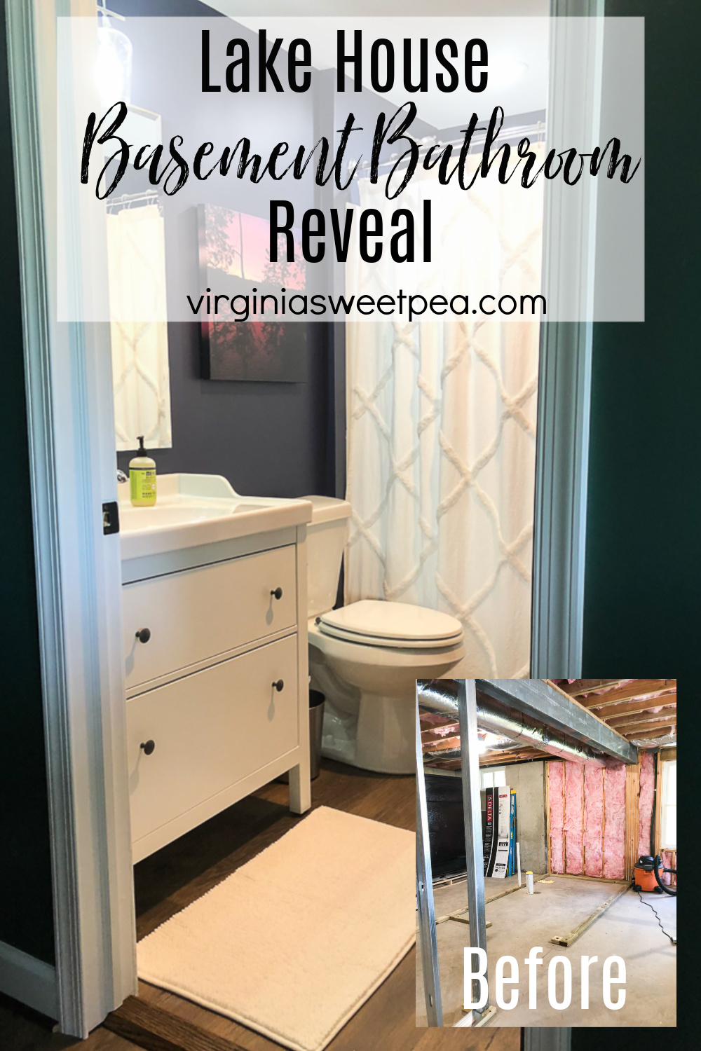 Lake House Basement Bathroom Reveal - A basement bathroom is added to an unfinished bathroom. See the process and the end result. #lakehouse #lakehousebathroom #basementbathroom #addabathroomtoabasement via @spaula