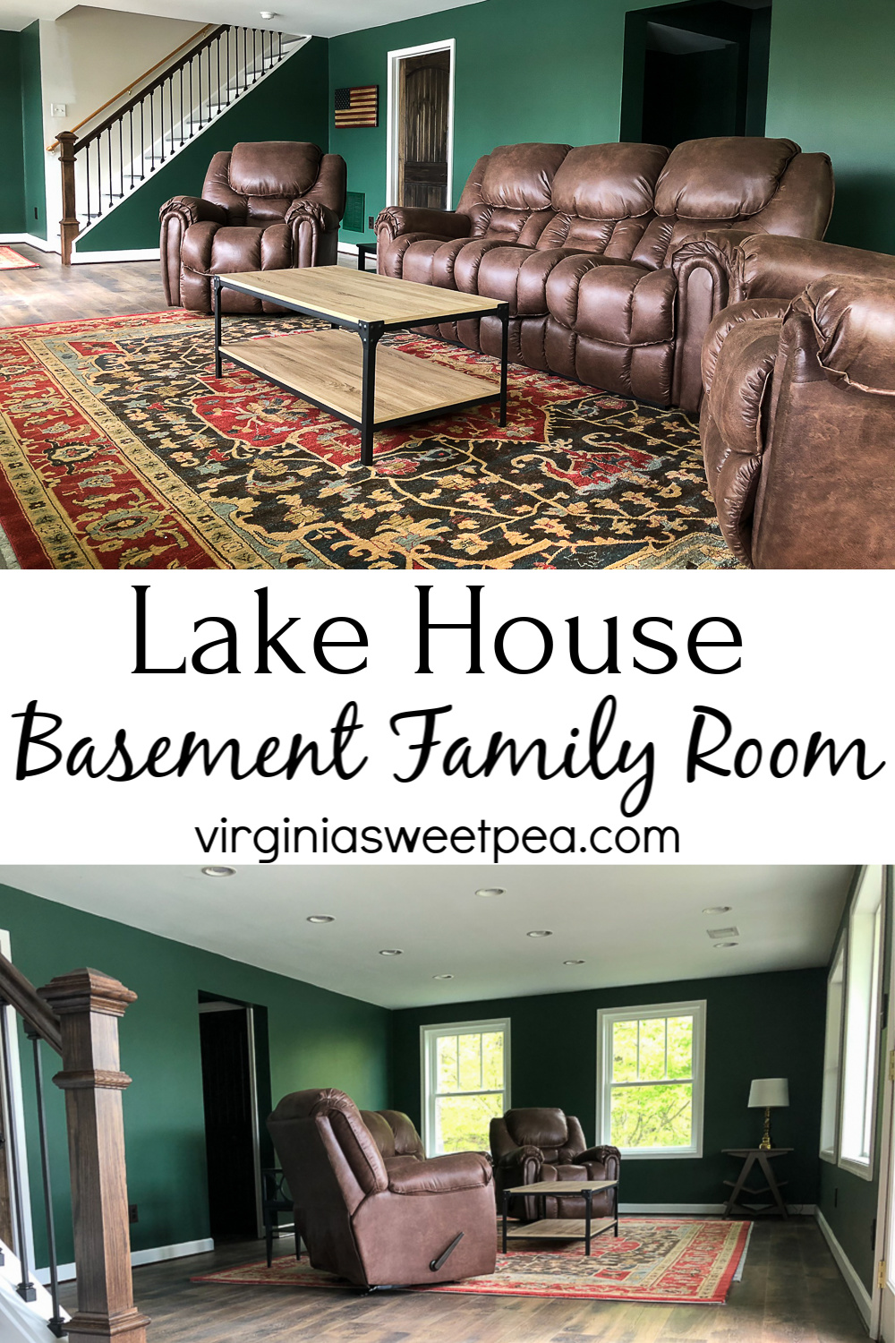 Lake House Basement Family Room - A previously unfinished basement has been transformed into a family room.  See all of the detail of the project as well as the room's decor.   #lakehouse #lakehousebasement #lakehousefamilyroom via @spaula