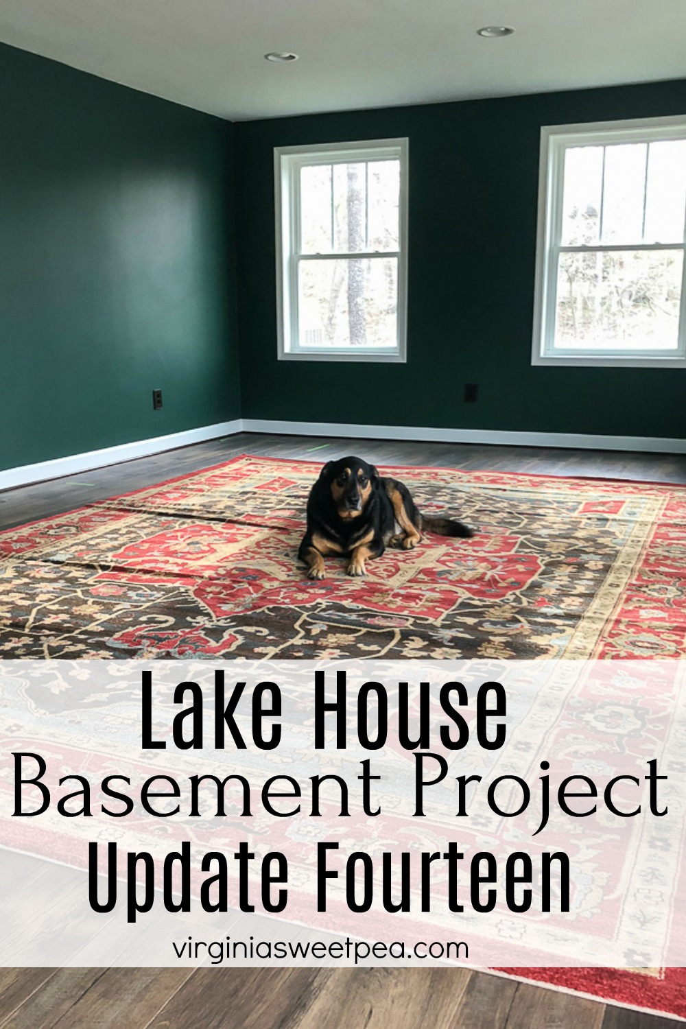 Lake House Basement Project - Update Fourteen - An unfinished basement is transformed into a family room, bedroom, and bathroom. #lakehouse #finishingabasement #basement via @spaula
