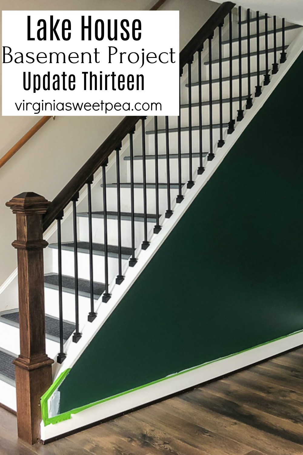 Lake House Basement Project - Update Thirteen - See how metal balusters were installed on a staircase and the other projects tackled as an unfinished basement is transformed into a family room, bathroom, and bedroom. #howtoinstallbalusters #lakehousebasement #finishingabasement #smithmountainlake via @spaula