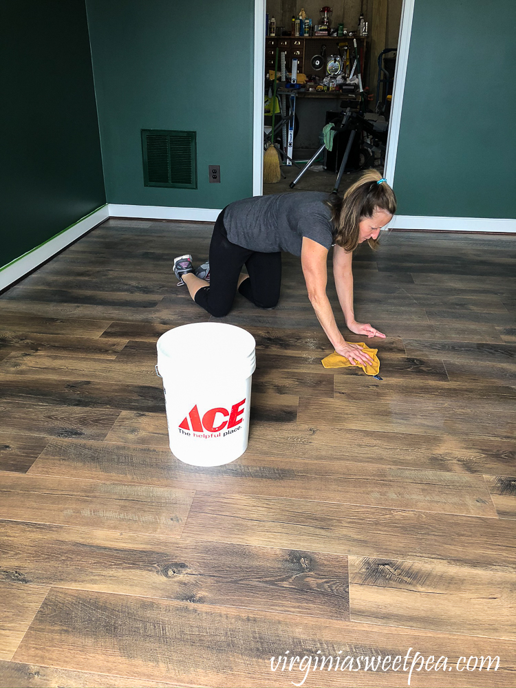 Cleaning floors at Smith Mountain Lake