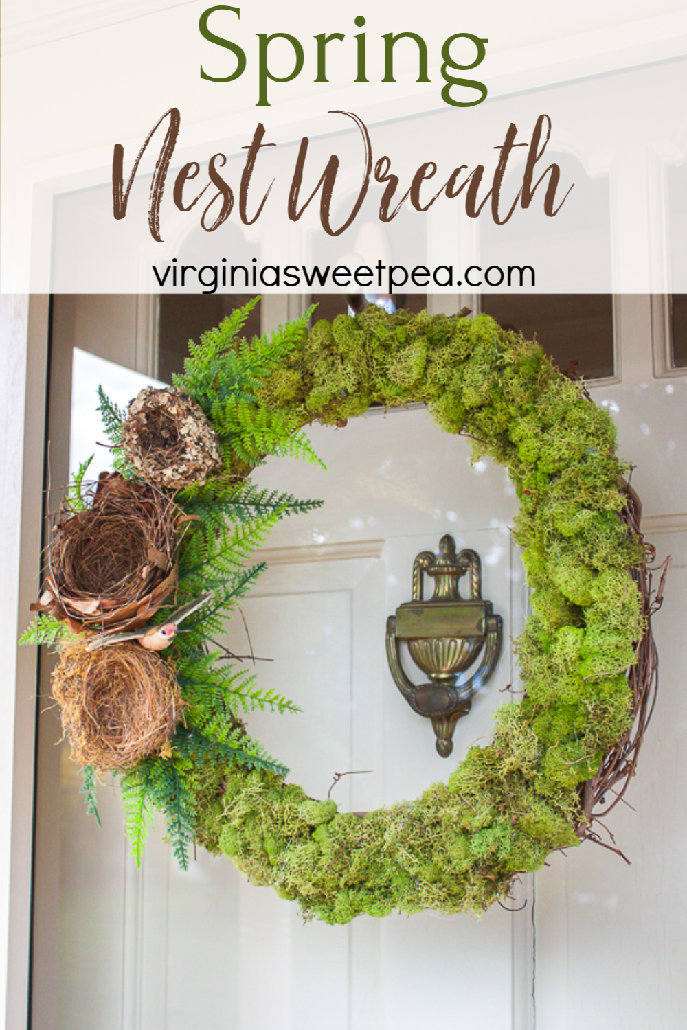 Spring Nest Wreath - Make a wreath for spring with moss, nests, ferns, and a bird as an accent.  #springwreath #wreath #springccraft #nestwreath via @spaula